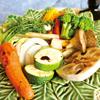 彩り野菜の炒め蒸し からし醤油とオリーブオイルソース
